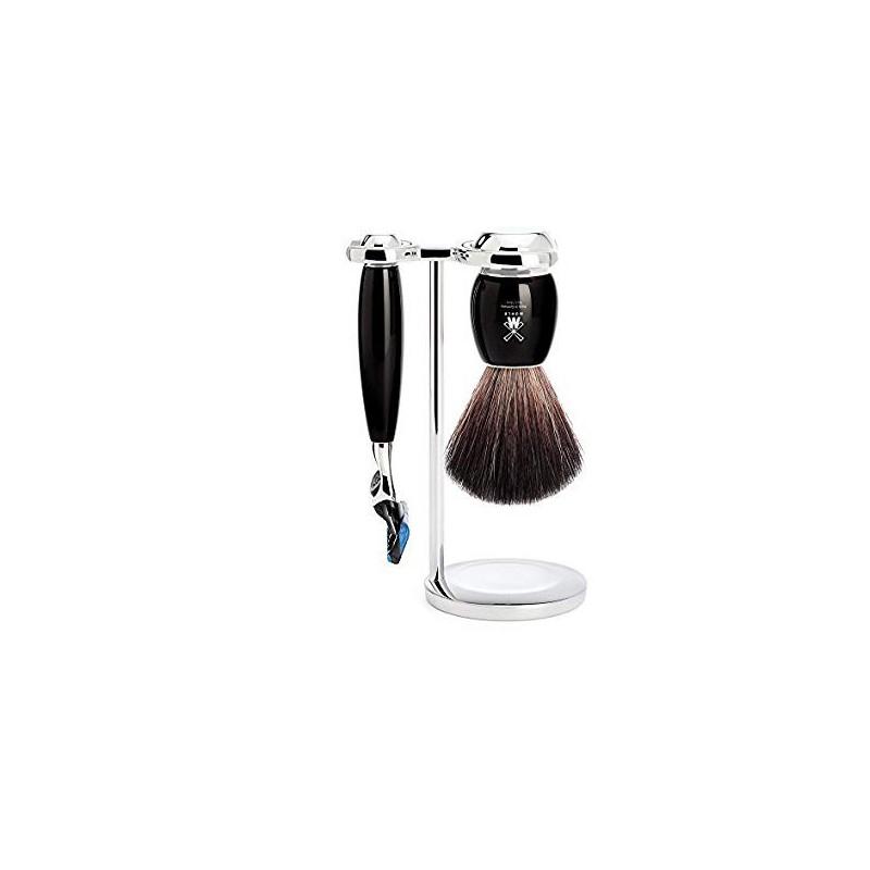 pennello in tasso pure badger e rasoio fusion colore nero