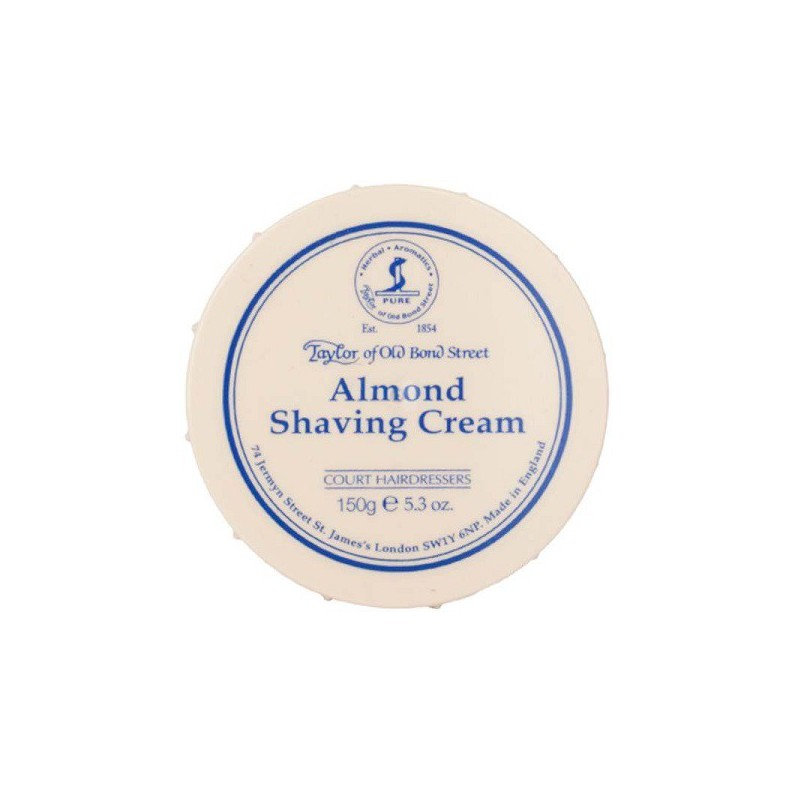 Almond shaving cream di Taylor of Old Bond Street è una crema di barba con una formula ricca di oli essenziali
