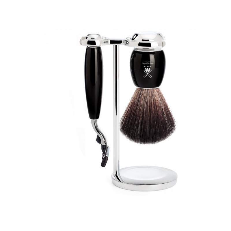 pennello in tasso pure badger e rasoio mach3 colore nero